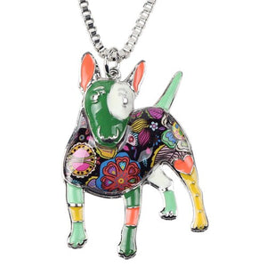 Terrier Dog Necklace With Colorful Measles And Chain