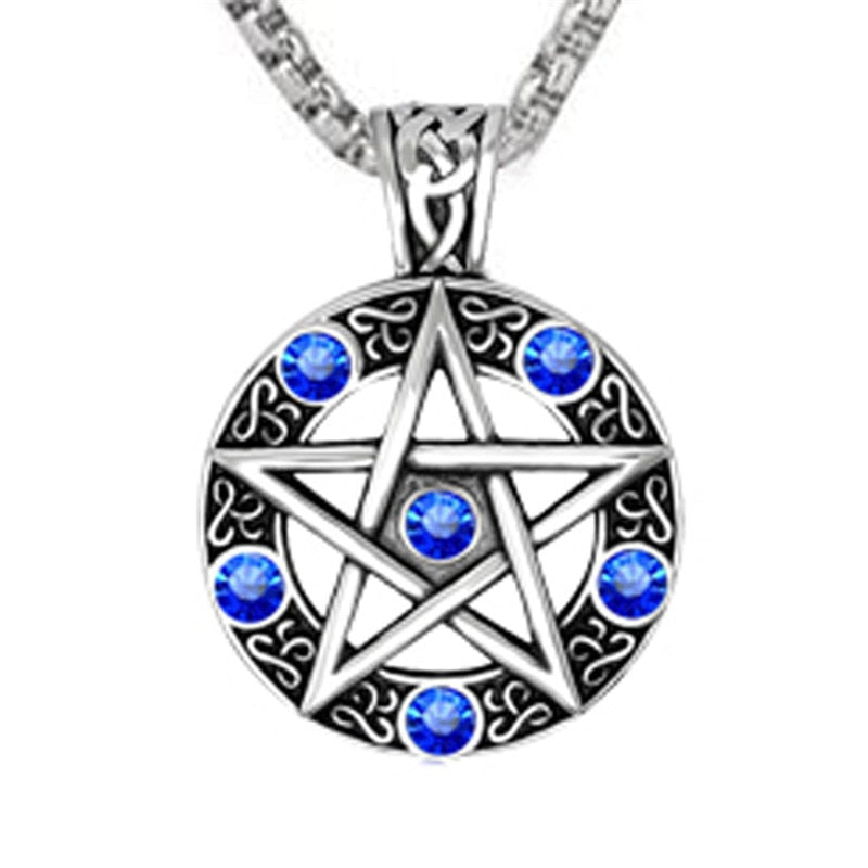 Gothic Pewter Pentagram Necklace - GiftWorldStyle - Luxury Jewelry and Accessories