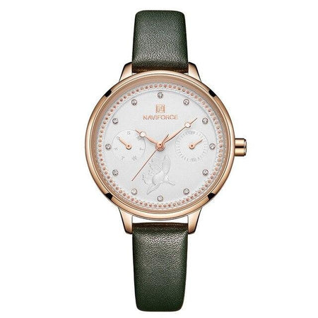 Women's Fashion Crystal Leather Strap Watch