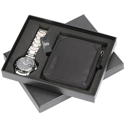 Men's Stainless Steel Watch and Leather Wallet Set