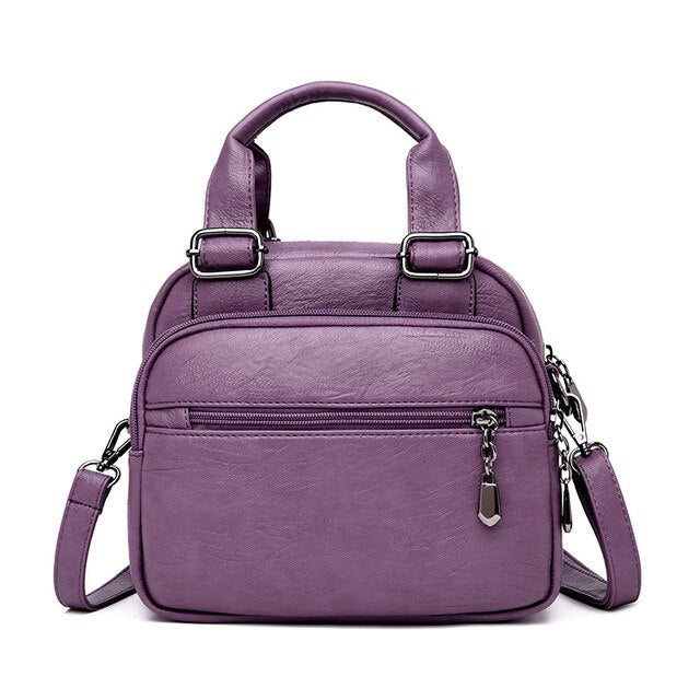 Women's Multi-Pocket Leather Shoulder Bag