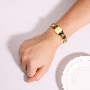 Magnetic Men Bracelet From Stainless Steel With Gold-color Hologram Fiber - GiftWorldStyle - Luxury Jewelry and Accessories
