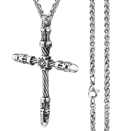Men's Engraved Cross Pendant Necklace