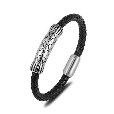 Braided Genuine Leather Bracelet - Stainless Steel