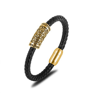 Genuine Leather Gold Stainless Steel Bracelet Men Women Charm Bangles Jewelry