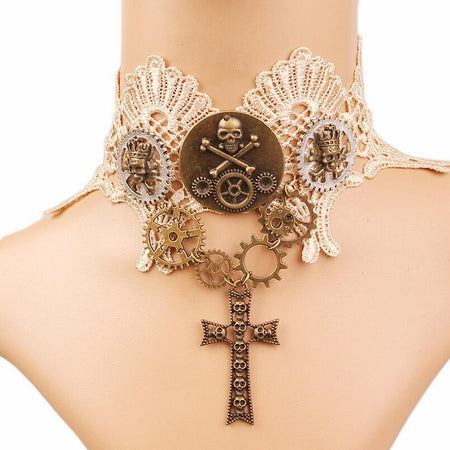 Women`s Steampunk Necklace with Lace Vintage Gears and Skull