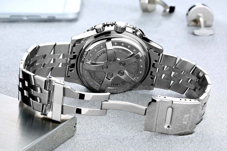 Mechanical Steel Strap Watch With Folding Clasp with Safety, Self Wind - GiftWorldStyle - Luxury Jewelry and Accessories