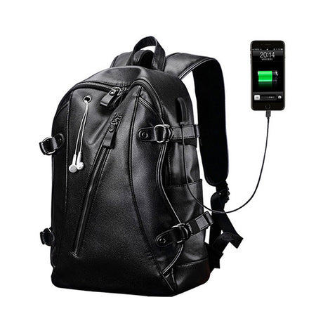 Backpack Leather Men Laptop Travel Backpack 15inch Waterproof Laptop Backpack USB College