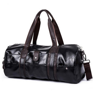Sports Bag Men Gym Yoga Soft Pu Leather Cylindrical Fitness Bag Male Shoulder Travel Luggage