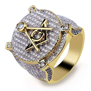 Hip Hop Gold Color Plated Brass Iced Out Micro Pave Cubic Zircon Masonic Ring Charm For Men