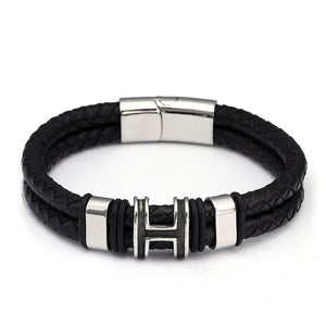Diy Double Layer Men Male Genuine Leather Bracelets Bangles Trendy Stainless Steel Chain Link Charm