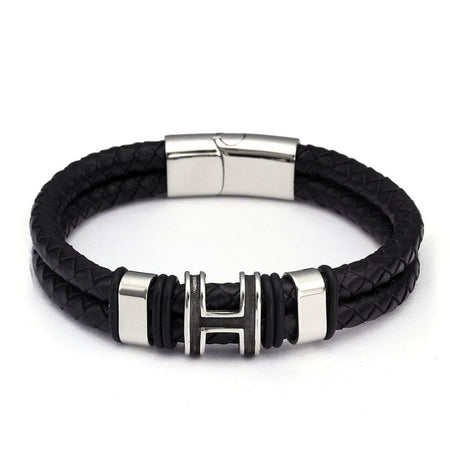 Double Layers Genuine Leather Bracelet - Stainless Steel