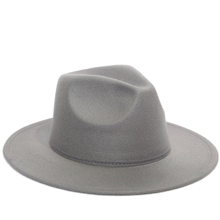 Plain Fedoras Hats With Brim Trilby And Belt Buckle - GiftWorldStyle - Luxury Jewelry and Accessories