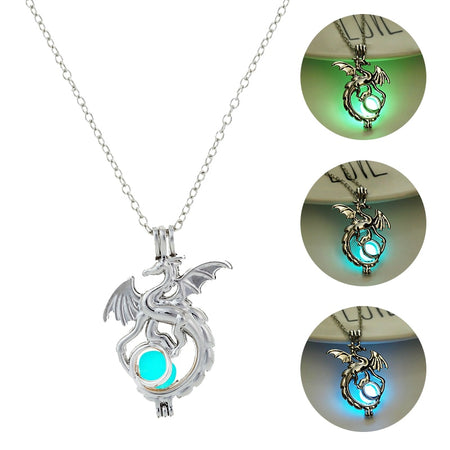 Dragon Glowing Stone Necklace Women Man Glow the Dark Pendant Necklace Movies TV Luminous