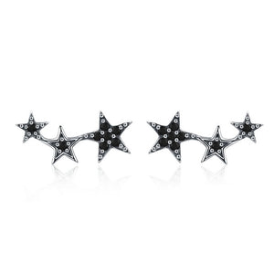 CZ Exquisite Star Stud Earrings - 925 Sterling Silver