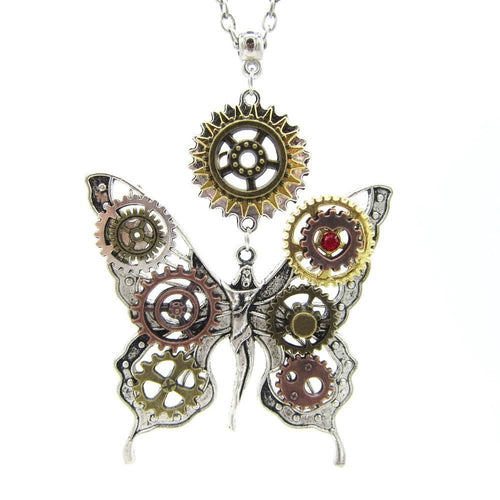 Butterfly Fairy Steampunk Necklace With DIY Gears,Long Pendant - GiftWorldStyle - Luxury Jewelry and Accessories