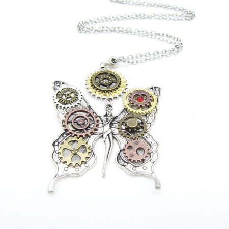 Butterfly Fairy Steampunk Necklace With DIY Gears,Long Pendant