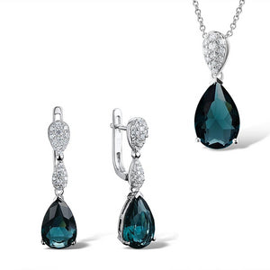 Silver Jewelry Set For Women 925 Sterling Silver Magic Green Crystal Drop Earrings Pendant Trendy