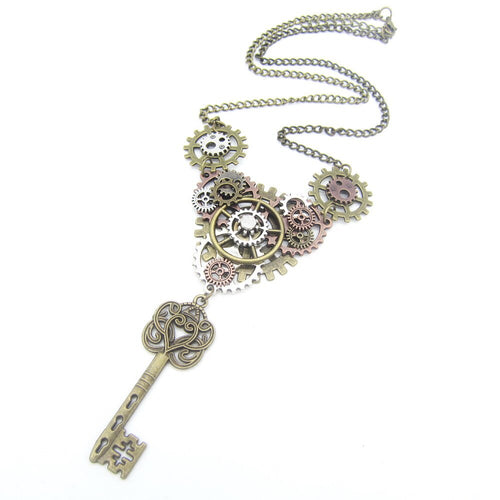 DIY Steampunk Necklace With Vintage Key And Mechanical Mixed Gear