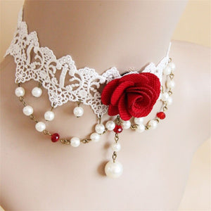 White Lace Gothic Choker Necklace - GiftWorldStyle - Luxury Jewelry and Accessories