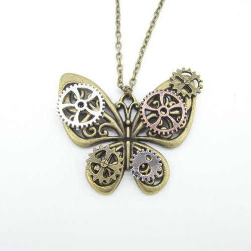 DIY Women Steampunk Necklace With Butterfly with Gears Wings - GiftWorldStyle - Luxury Jewelry and Accessories