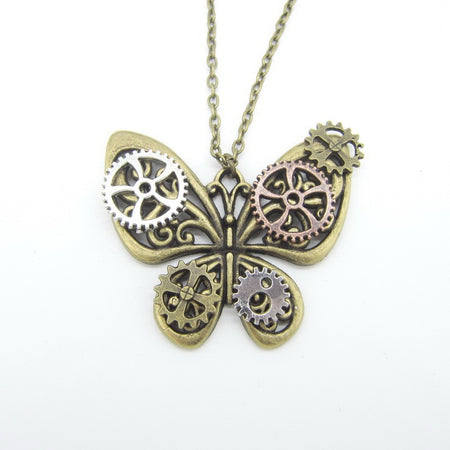 DIY Women Steampunk Necklace With Butterfly with Gears Wings