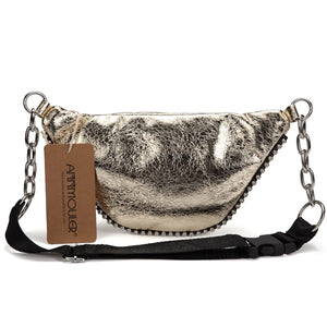 Shiny Fabric Waist Bag With Travel Phone Pouch