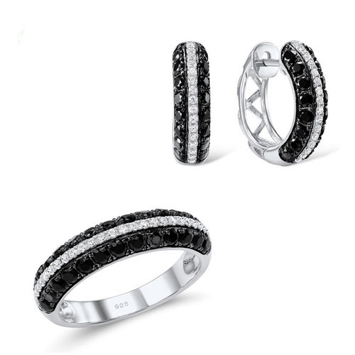 Jewelry Set For Women Natural Black White CZ Stones Ring Earrings Exquisite Set 925 Sterling Silver