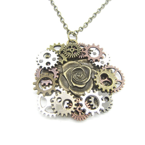 Steampunk Rose Necklace With Antique DIY Gears Around