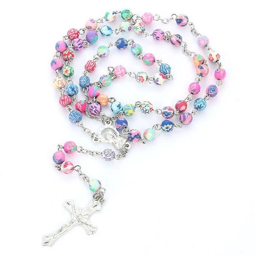 8mm Rosary Necklace With Virgin Mary And Clay Beads