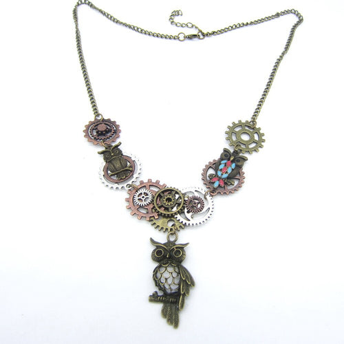 Women's Steampunk Necklace With DIY Gears and Vintage Owl Pendant