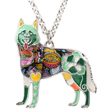 Enamel Alloy Happy Siberian Husky Dog Necklace Pendant Chain Choker Animal Jewelry