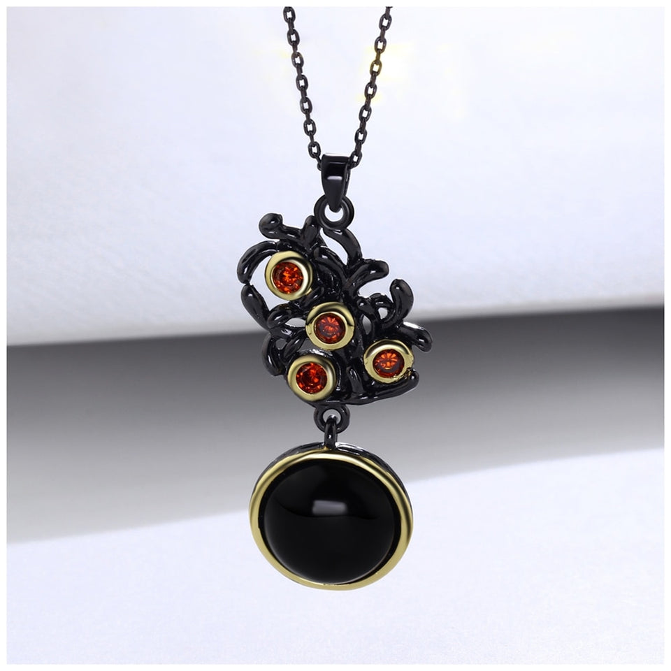 Vintage Flower Pendant Necklace for Women - Red Cubic Zirconia