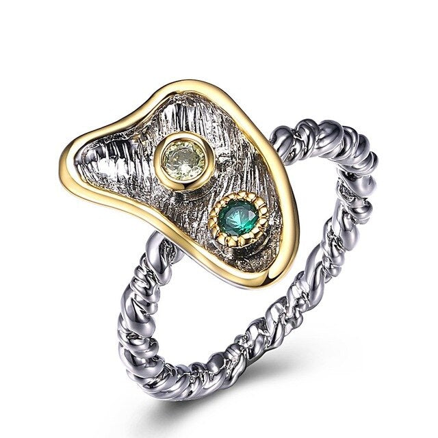 Cute Fashion Rings for Women Twisted Band Green Olivine Zircon