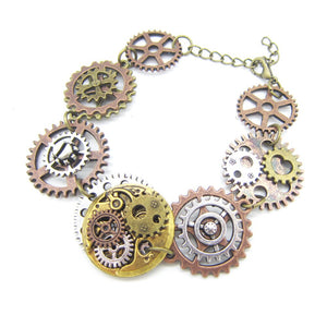 Vintage Golden and Silver Ox Mechanism Gears Steampunk Bracelet - GiftWorldStyle - Luxury Jewelry and Accessories