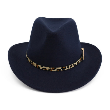 Fedora Hat With Leopard-print Belt And Buckle Decorated - GiftWorldStyle - Luxury Jewelry and Accessories