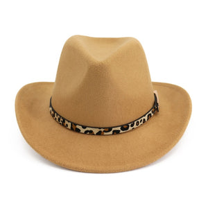Leopard-print Belt Buckle Decorated Western Cowboy Hat Women Roll Brim Wool Felt Jazz Fedora Hats