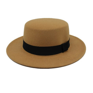 Wool Boater Flat Top Hat For Women's Felt Wide Brim Fedora Hat Pie Bowler Gambler Top