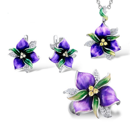 Jewelry Set With Purple Flower In CZ Stones And Sterling Silver