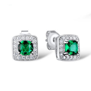 Silver Jewelry Set For Women Sparkling Green CZ Square Ring Earrings Pendant Set 925 Sterling Silver