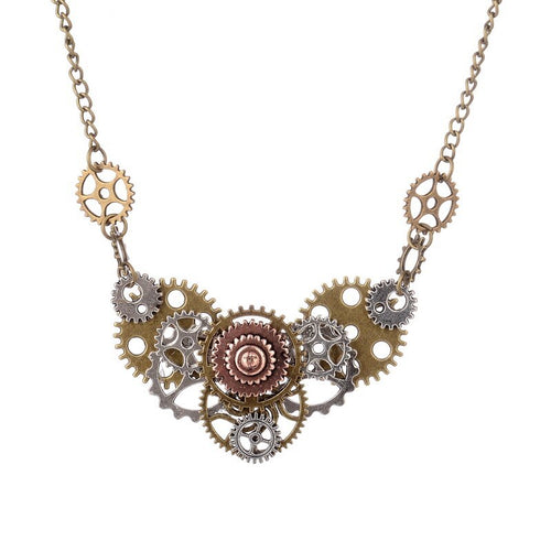 DIY Steampunk Necklace With Different Gears Hand Connected - GiftWorldStyle - Luxury Jewelry and Accessories