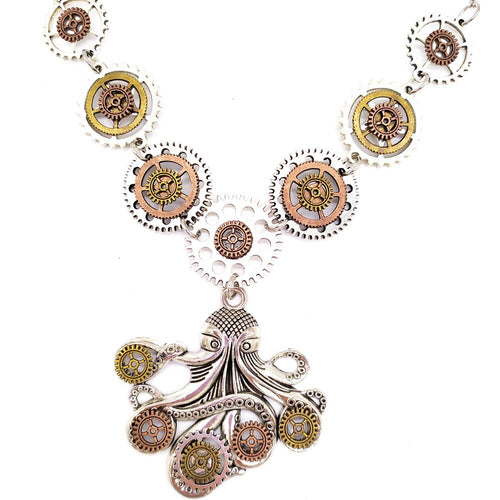Octopus Steampunk Necklace With Silver Base with Various Gears