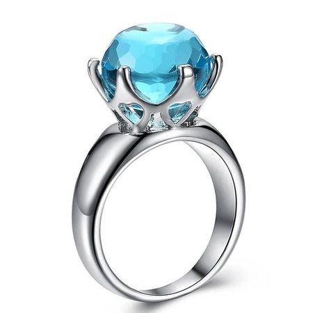 Cut Solitaire Wedding Ring for Women Light Blue Color Zirconia 6 Prawns Crown Look