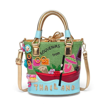 "Bucket Shoulder Bag With Cartoon "" Thailand"", Hard Handle"