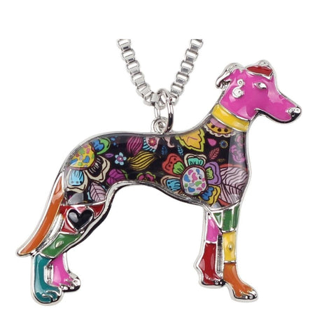 Enamel Alloy Greyhound Dog Necklace Pendant Chain Choker Elegant Animal Jewelry