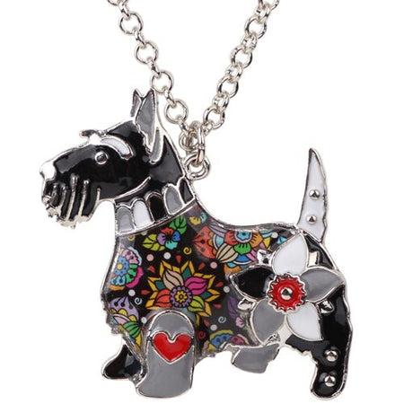 Enamel Alloy Scottish Terrier Dog Necklace Pendant Chain Collar Unique Animal Jewelry