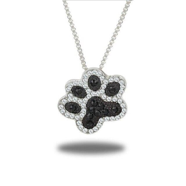 Pets Dogs Footprints Paw Pave Pendant Necklace - GiftWorldStyle - Luxury Jewelry and Accessories