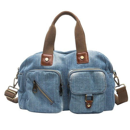 Denim Handbag For Women With Outer Pockets,Zipper