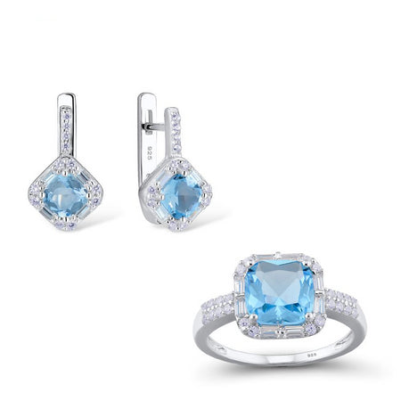 Jewelry Set for Women Chic Bridal Shiny Cushion Blue Crystal Earrings Ring Set 925 Sterling Silver