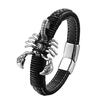 Men Bracelets Punk Leather Scorpion Bangles Magnet Buckle Men Jewelry Style